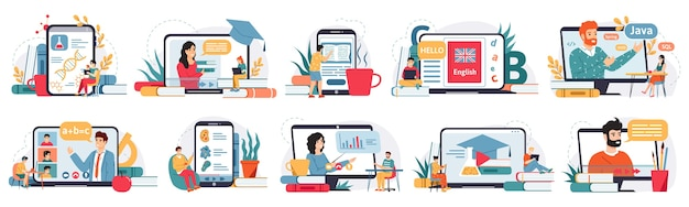 Homeschooling on laptop screen illustration