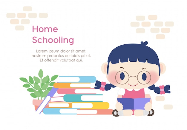 Homeschooling student kid reading education learning