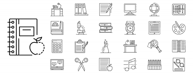 Homework icon set, outline style