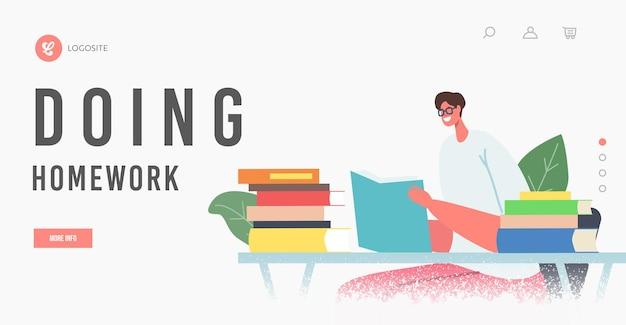 Шаблон целевой страницы домашнего задания. женский персонаж, увлеченно читающий, сидит за столом с открытым учебником. молодая студентка проводит время в библиотеке для подготовки к экзамену. векторные иллюстрации шаржа