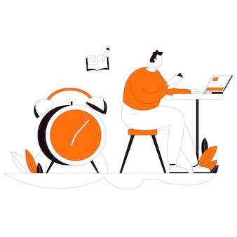 Do homework online flat style illustration