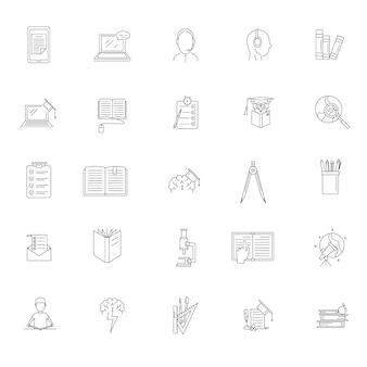 Homework study school icons set