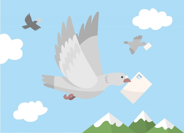 Homing pigeons carrying mail