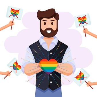 Homophobia concept with man holding rainbow heart
