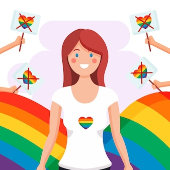 Homophobia concept with woman and rainbow heart