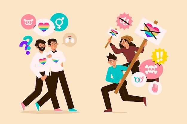 Homophobia illustration concept
