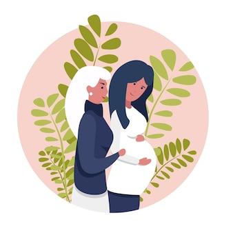 동성애 여성 lgbt 커플. 두 게이 여성이 아기를 갖게 된 것을 기뻐합니다. 비전통적인 가족. 여자는 임신한 아내를 껴안고, 여자 사이의 사랑, 레즈비언, 아기를 기대하는 두 명의 여성