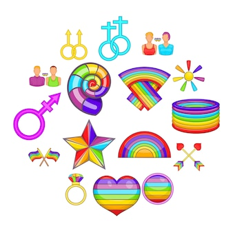 Homosexual icons set, cartoon style