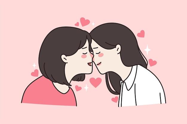 女の子の同性愛レズビアンのカップルがキスします