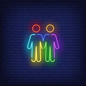 Homosexual male couple neon sign