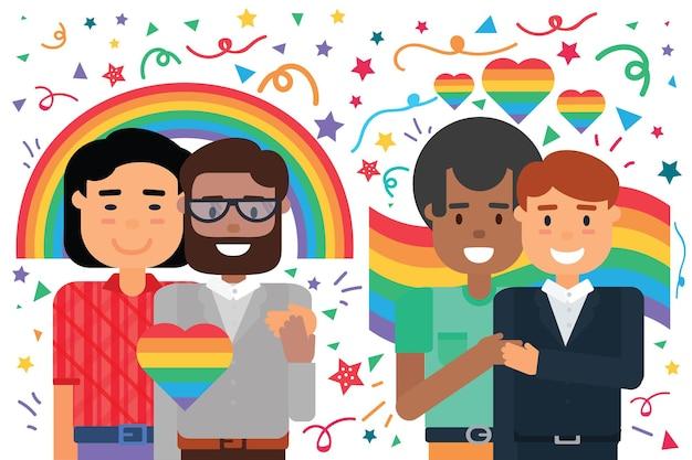 동성애 남성 커플은 프라이드 무지개 배경 위에 행복한 포옹을 하고, 만화는 사랑에 빠진 다양한 남자를 웃고 있습니다. 게이 권리 보호와 사랑의 자유 개념, 평면 벡터 일러스트 레이 션