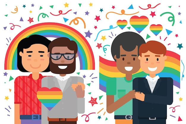 Homosexual male couples happy hugging over pride rainbow background, cartoon smiling diverse man in love. gay rights protection and love freedom concept, flat vector illustration