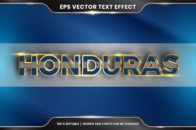 Honduras with its national country flag, editable text effect with gold color style