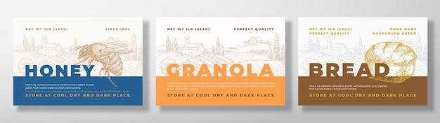 ほねグラノーラとパンの食品ラベル テンプレート セット Premiumベクター