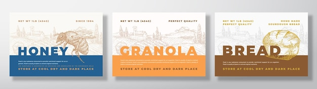 Hone granola and bread food label templates set