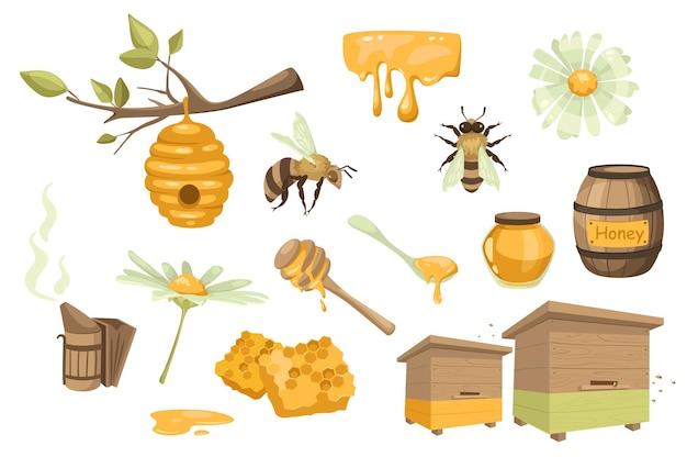 Набор элементов дизайна мед и пчеловодство. сбор пчелиный, улей, ромашка, бочка, банка, ложка, соты, пасека, коптильня пчеловодства. векторная иллюстрация изолированные объекты в плоском мультяшном стиле
