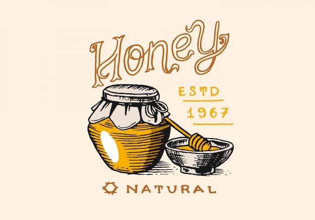 Мед и пчелы. винтажный логотип для типографии, магазина или вывесок.