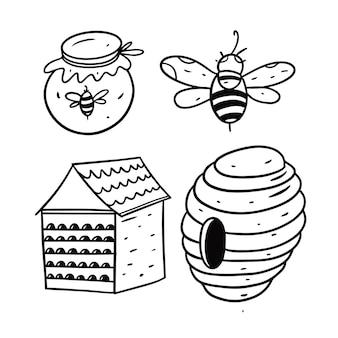 Мед и пчелы, изолированные на белом фоне