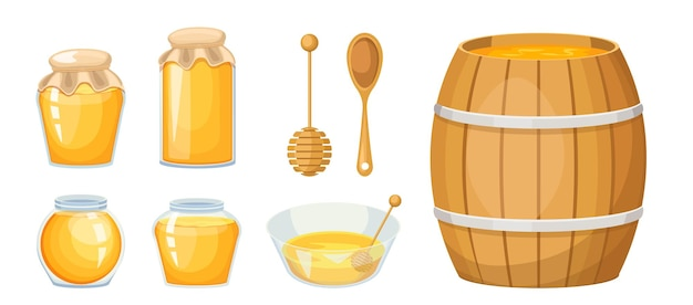 Honey apiary production, glass jars, wooden dipper and barrel with bowl, yellow sweet liquid. healthy food, ecological nutrition isolated on white background. cartoon vector illustration, icons set