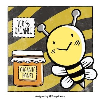 Sfondo miele con un ape