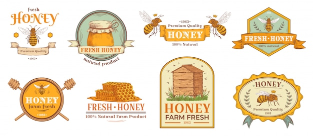 Honey badge. natural bee farm product label, organic beekeeping pollen and bees hive emblem badges  illustration set Premium Vector