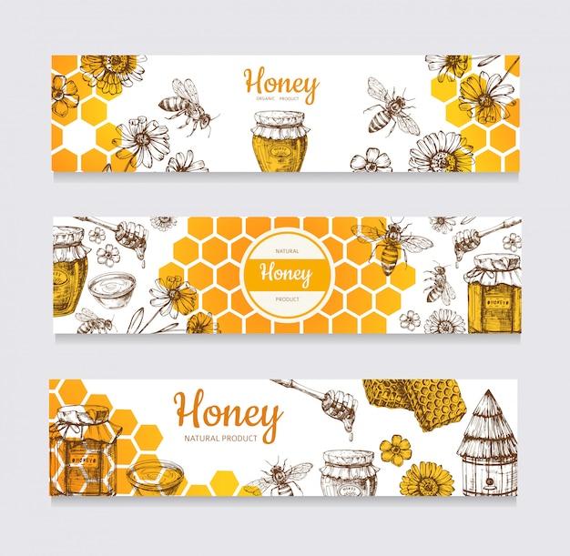Медовые баннеры. урожай рисованной пчелы и медовый цветок