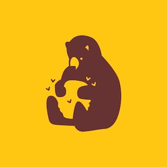 Honey bear hive bee logo