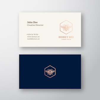 Honey bee abstract elegant logo and business card