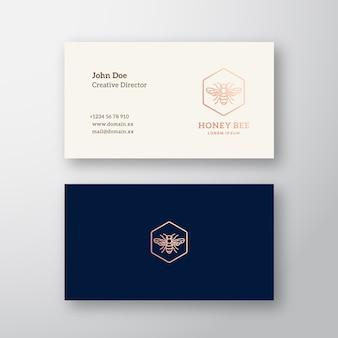 Logo elegante astratto dell'ape del miele e biglietto da visita