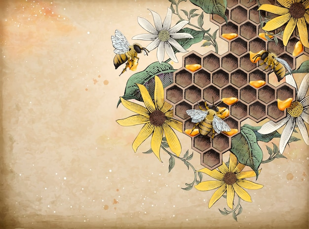 꿀 꿀벌과 양봉장, 복고풍 손으로 그린 에칭 음영 스타일 요소, 베이지 색 배경