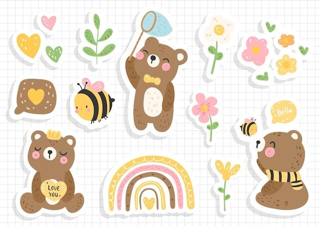 꿀벌과 곰 스티커, 스크랩북, 꿀벌 스티커 시트