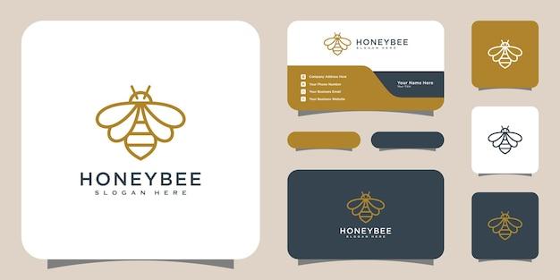 꿀벌 동물 로고 벡터 디자인 및 명함