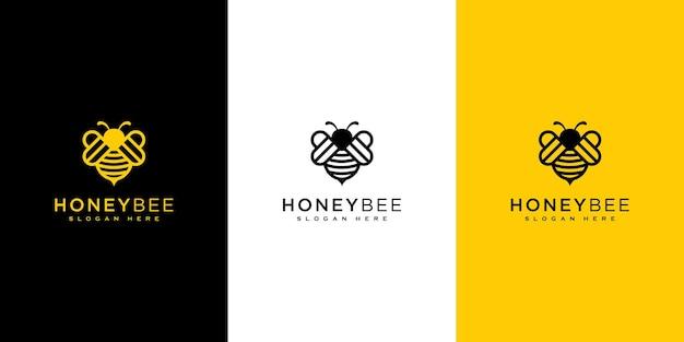 ミツバチの動物のロゴのベクトルのデザイン