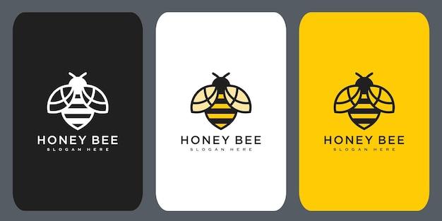 꿀벌 동물 로고 벡터 디자인