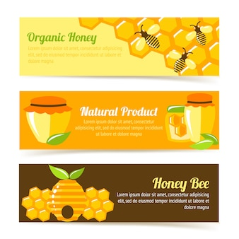 Honey bee banner template