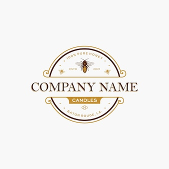 Honey bee candles logo template with handdrawn bee vector