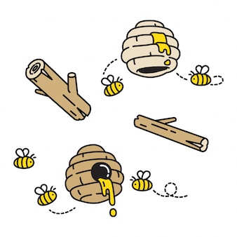 Honey bee cartoon beehive comb cartoon
