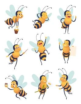 ミツバチ。さまざまなポーズで自然昆虫を飛んでいる漫画のキャラクターは、蜂のベクトルのマスコットを配信します。飛んでいる蜂の昆虫、マスコットポーズ養蜂イラスト