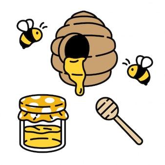 Honey bee cartoon comb behive icon