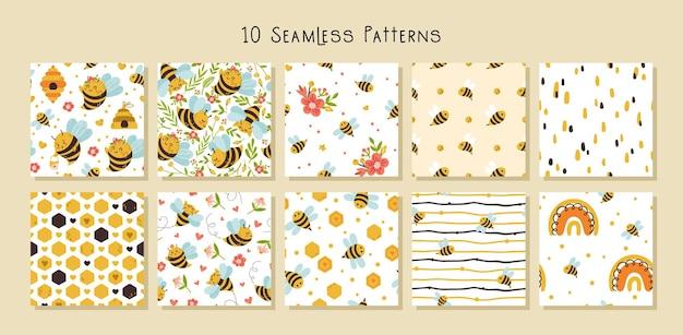 꿀 꿀벌 만화 완벽 한 패턴 세트