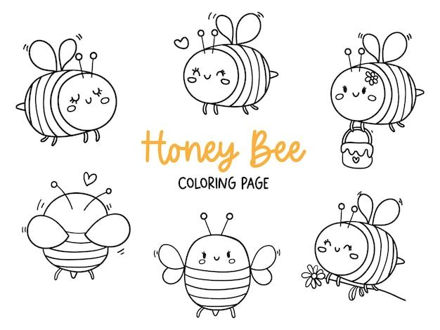 Раскраска медоносная пчела каракули медоносная пчела
