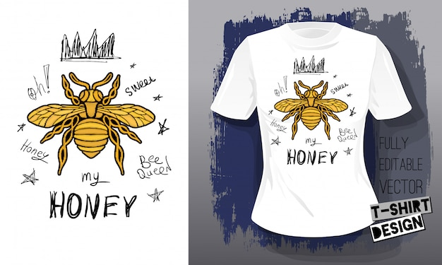 蜂蜜の蜂黄金刺繍クイーンクラウンテキスタイルファブリックレタリング金翼昆虫tシャツデザイン。手描きベクトルミツバチ高級ファッション刺繍スタイル
