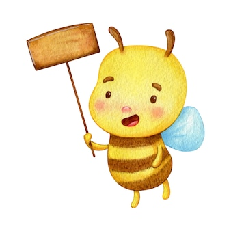 Honey bee holds a wooden nameplate. smiling bug hand painted in watercolor.
