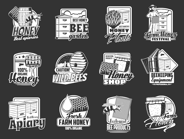 Honey bee, honeycomb and apiary beehive icons