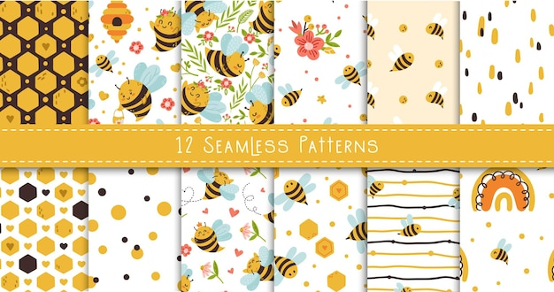 Honey bee kids seamless patterns bundle