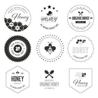 Honey bee label and logo banner