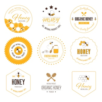 Honey bee label and sticker banner.