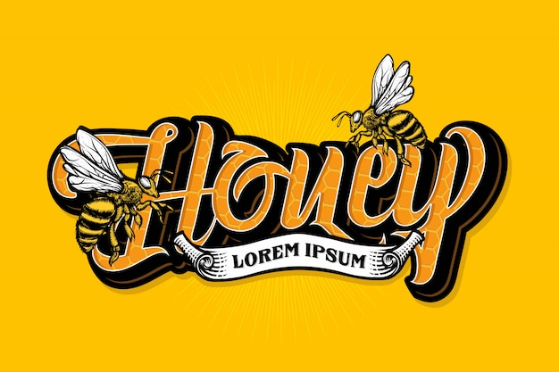 Honey bee lettering with ribbon template