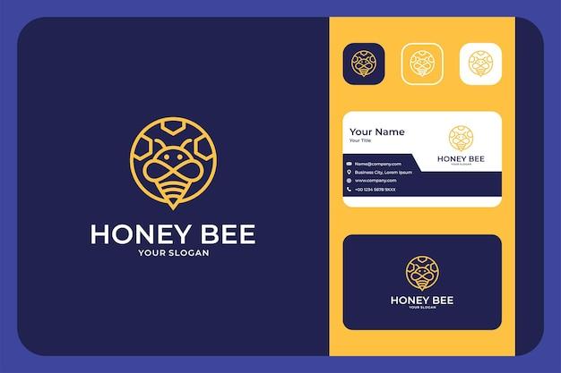 ミツバチの線画のロゴデザインと名刺