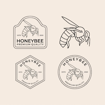 Honey bee line art vintage logo set
